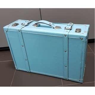 Decorative old school skool suitcase luggage turquoise