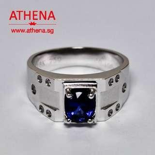 JW_SR_1526 JEWELLERY 18K WG BLUE SAPPHIRE RING WITH DIAMOND D10-0.16CTS 8.41G [ CERT. ]