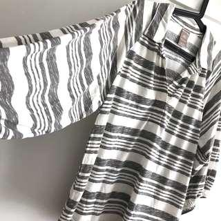 $10 only! Plus Size BN Oversized Size L/G (fits plus size 2XL~3XL) Beige Striped Collar Tunic Blouse Top @sunwalker