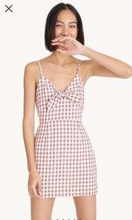 BNWT Pomelo Mini Cami Gingham Dress (Brown)