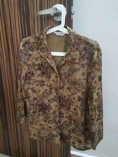 [Instock] Vintage Brown Rose Print Button Down