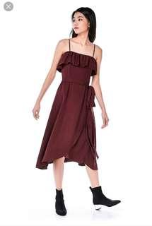 [TEM] Majora Ruffle Midi Dress in Burgundy