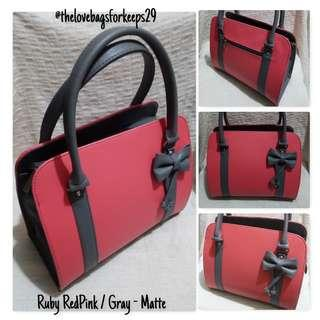 Love Bag : Ruby ~Ribbonned Red/Grey