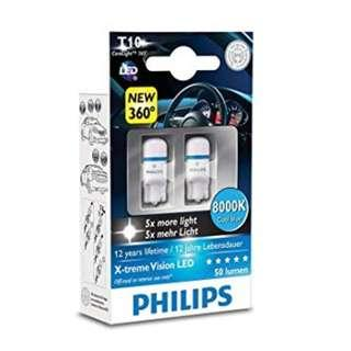 CLEARANCE PHILIPS Xtreme Vision 360 LED W5W T10 8000K (Twin)