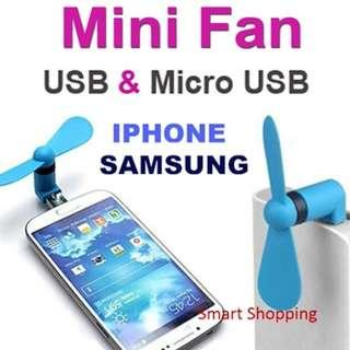 USB portable handheld fan attached to android or apple iphone