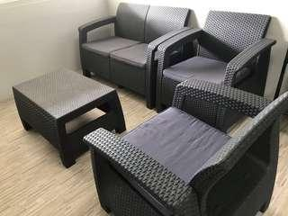 Corfu Rattan Sofa Set Grey 2+1+1