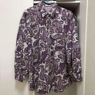 🚚 古著 紫色變形蟲 澎澎袖雪紡襯衫  #半價衣服市集