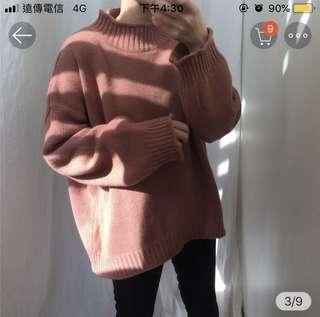🚚 莓紅色高領針織毛衣