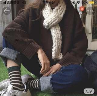 🚚 咖啡色圓領針織毛衣