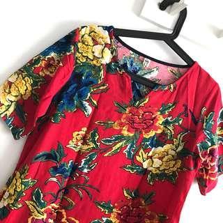 (❤️CNY Offer!) Size L (Fits M-L) Red Oriental Flower V Neck Short Sleeve Dress @sunwalker