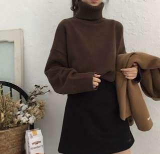 🚚 咖啡色高領針織毛衣