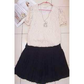 🚚 原價近3000 回饋賣場 (甜美控   顯瘦)類0918甜美風  甜美時尚素色黑色顯瘦褲裙 b.club