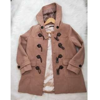 可議價 二手 七成新 日系品牌INGNI 修身牛角扣大衣外套(原價台幣2000多購入)