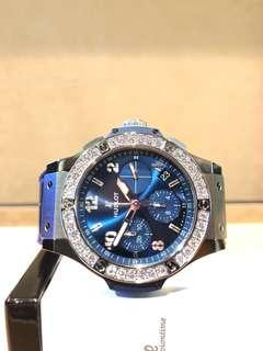 Brand New Hublot Big Bang 341.SX.7170.LR.1204 Blue Dial Automatic Steel Casing Leather
