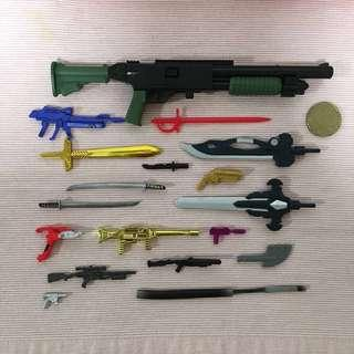 Misc weapon guns and swords and knife spare parts accessories lot