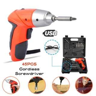 Portable Electrical Drill Cordless Screwdriver Mini Handy Drill Screwdriver Tools Multi-Function Cordless Rechargeable 45pcs Set Tools