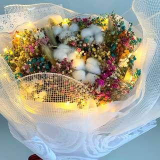 Valentine Bouquet- Large Dried Rainbow Baby Breath with cotton flowers and pony tails ( LED lights included)Size-W40xHt48cm)