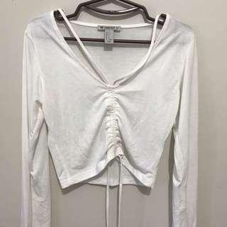 F21 Strappy White Long Sleeves