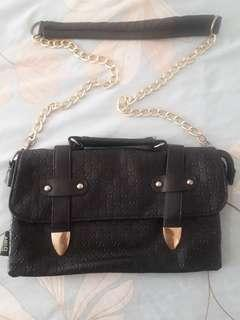 Black Chain Sling Bag