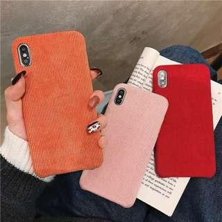 [PO] plain corduroy iphone case in red/pink/orange