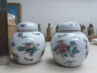 景德鎮 花卉紋茶葉罐