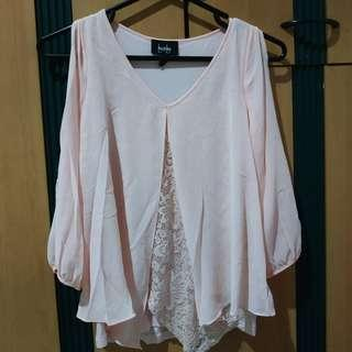 By & By Pink Open Arm Blouse