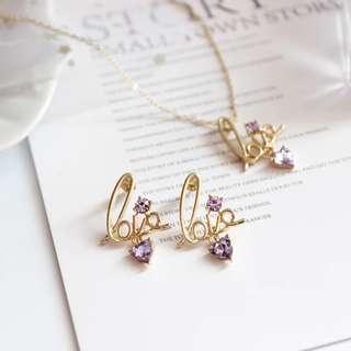 new日本🇯🇵紫水晶love💜頸鏈+耳環set