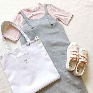 Ulzzang Slip On Midi Dress in Grey