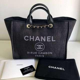 Chanel Black Canvas Large Deauville Tote Bag