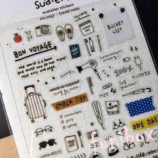 *funibox*韓國suatelier手繪旅行筆記pvc貼紙/旅行裝備清單/手作相冊日記卡片名信片手帳裝飾貼紙