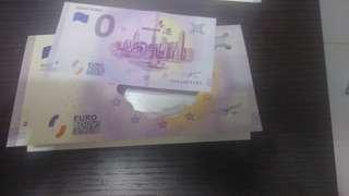 0元歐羅$0 EURO 孫中山 香港 紀念幣 紀念鈔票
