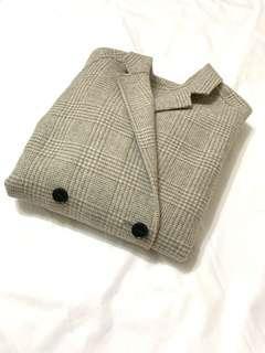 🇰🇷灰羊毛格紋手工大衣