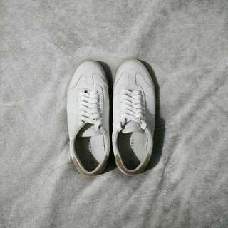 ZALORA Cream White Brown Canvas Sneakers