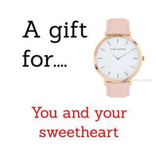 Pink Fashion Ladies Watch Classic Pink Strap Gold Case White Face Analog Watch