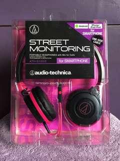 Audio Technica Street Monitoring Portable Headphones ATH-S100iS Black-Pink