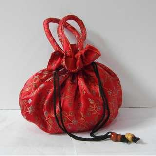 CNY Red SATIN Japan style bag/ pouch