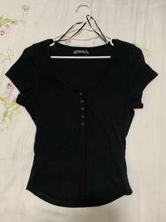 COTTON ON black button up top