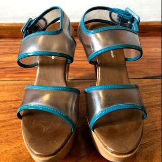 ROBERT CLERGERIE PVC Blue Straps with Block Heels