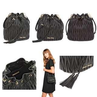 Miu Miu Matelasse Leather Bucket Bag (Black)
