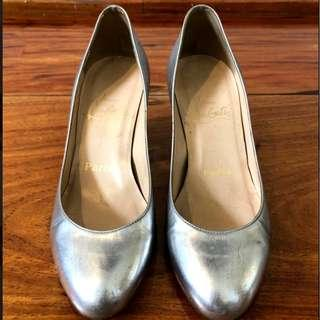Christian Louboutin Silver Metallic Pumps Wedge Heels