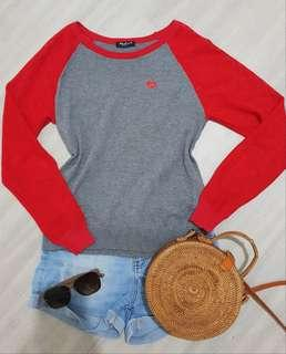 Red Sleeve Gray Sweater