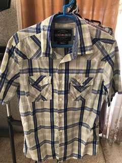 Ecko Unltd Blue Plaid Short Sleeve Button Polo