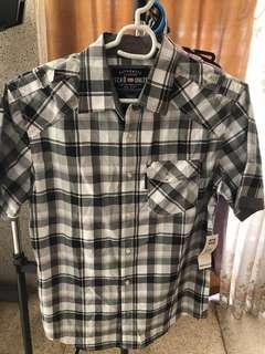 Ecko Unltd Black Plaid Short Sleeve Button Polo