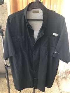 Columbia PFG Omnishade Black Short Sleeve Button Polo