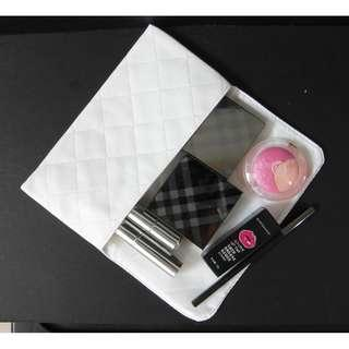🆕White PU leather cosmetic bag/ clutch/ pouch bag