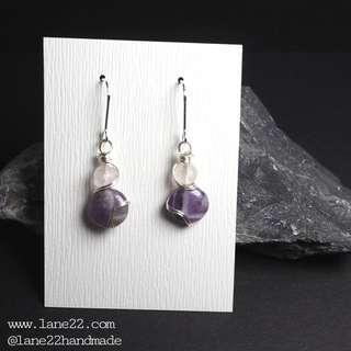 🚚 Amethyst , Rose Quartz gemstone silver earrings. // Handmade jewelry