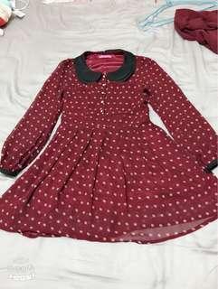 復古點點小洋裝