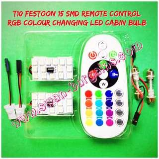 2pcs 15SMD Interior Cabin T10 Festoon Remote Controllable Multi-Colour Selection Multi-Mode RGB Canbus LED Panel Bulb Slab w Remote Control
