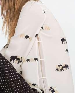 ZARA BASIC Elephant Print Buttondown Top