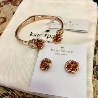 Kate Spade Rose gold cuff and earrings set
